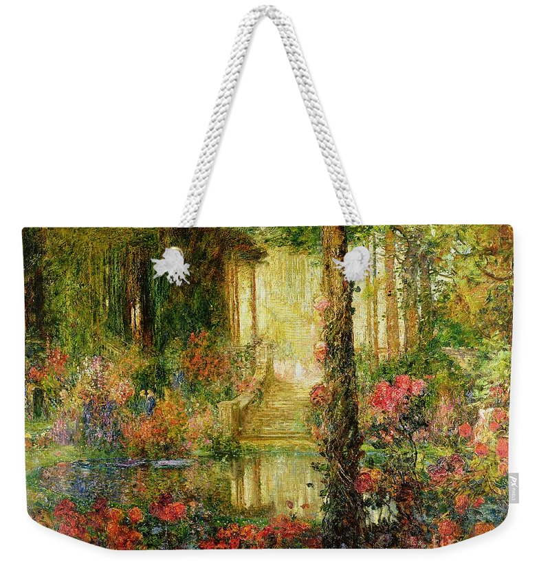 The Weekender Tote Bag featuring the painting The Garden Of Enchantment by Thomas Edwin Mostyn