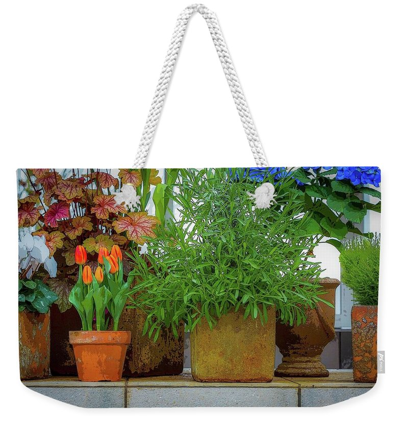 Flowers Weekender Tote Bag featuring the photograph The Garden Shelf by J Thomas