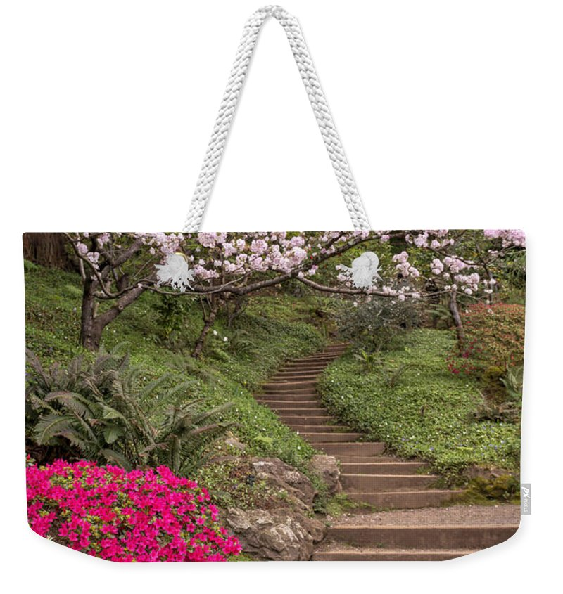 Garden Weekender Tote Bag featuring the photograph The Garden Steps by Susan Rissi Tregoning