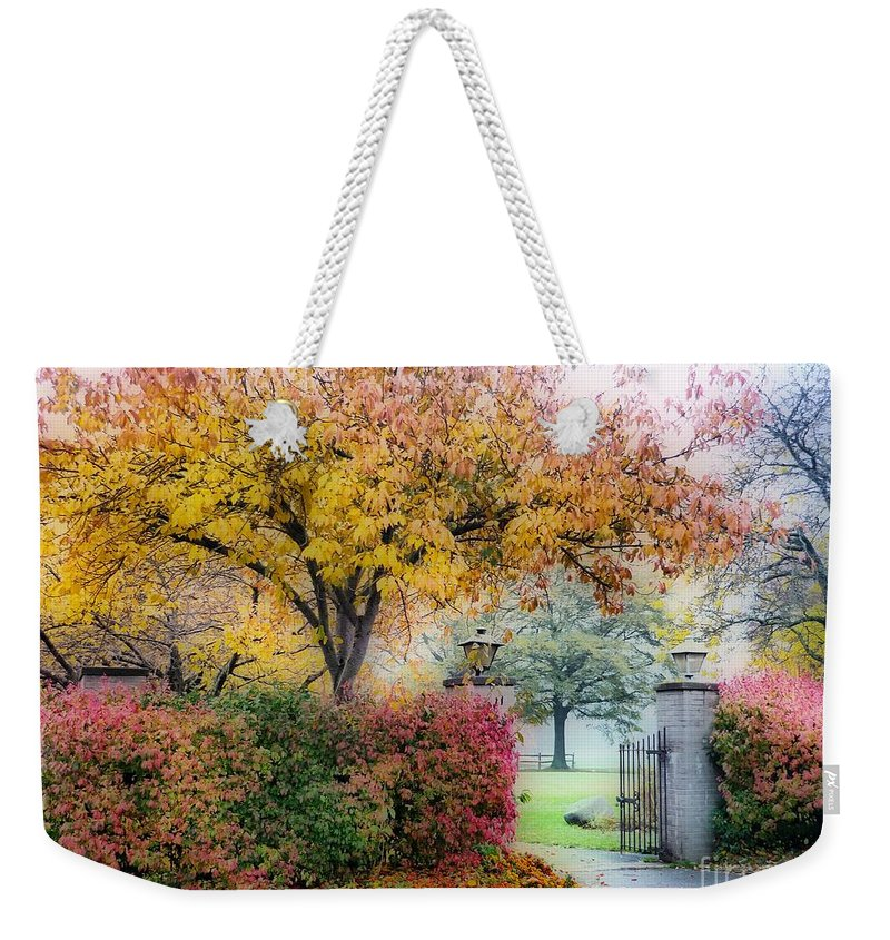 Autumn Weekender Tote Bag featuring the photograph The Gate by Jeff Breiman
