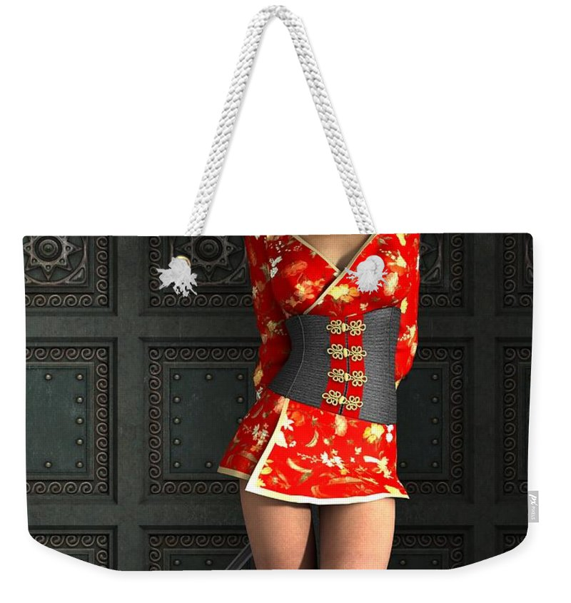 3d Weekender Tote Bag featuring the digital art The Gate Keeper by Alexander Butler