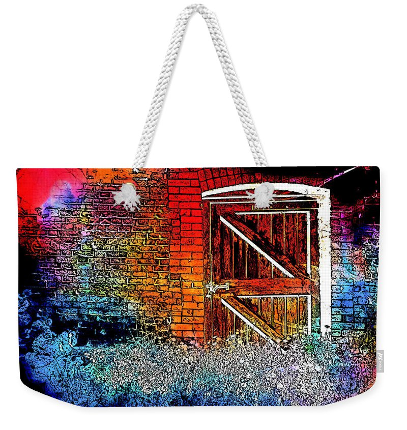 Abstract Weekender Tote Bag featuring the photograph The Gate by Tom Gowanlock