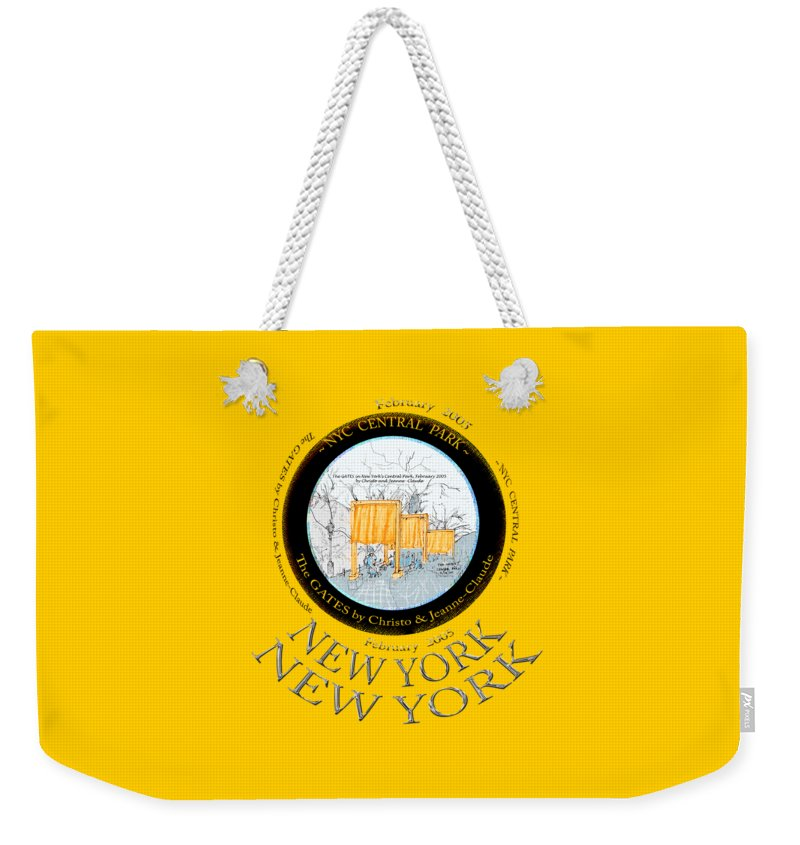 Christos-the-gates-central-park Weekender Tote Bag featuring the drawing The Gates By Christos In Central Park by James Lewis Hamilton