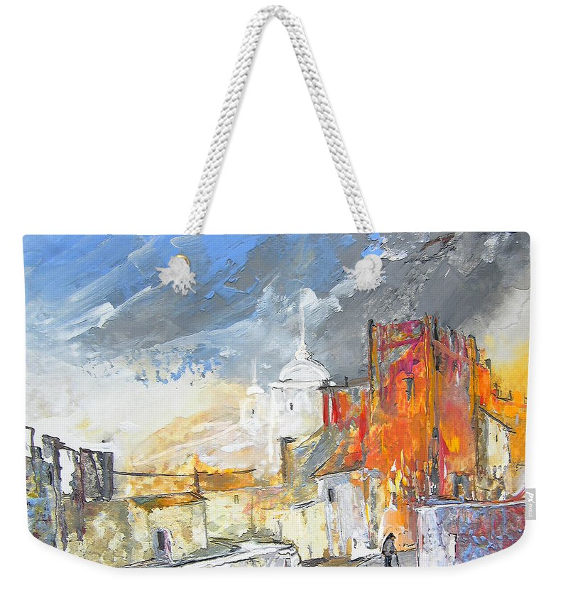 Gouache Weekender Tote Bag featuring the painting The Ghost Of Religion In Spain by Miki De Goodaboom