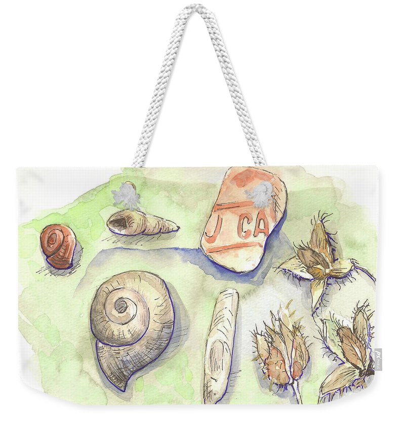 Snail Weekender Tote Bag featuring the painting The Gifts Of The Mountain River by Yana Sadykova