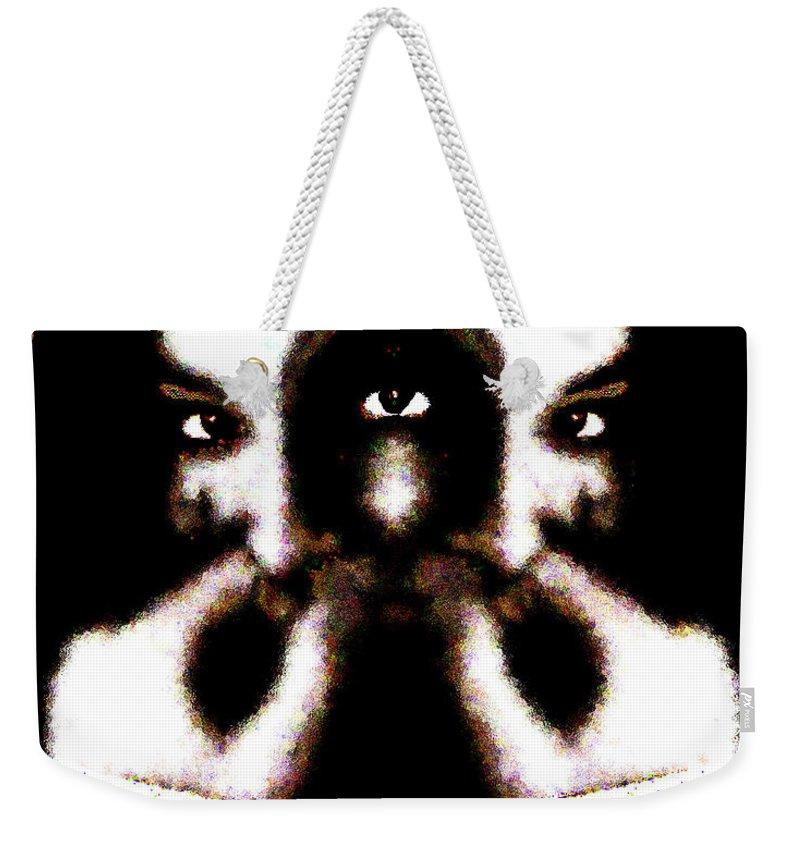 The Giggler Weekender Tote Bag featuring the digital art The Giggler by Seth Weaver