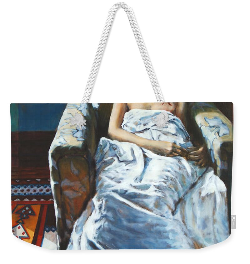 Window Weekender Tote Bag featuring the painting The Girl In The Chair by Rick Nederlof