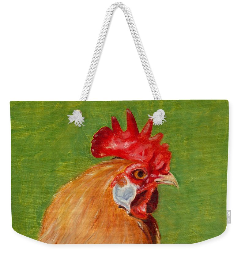 Rooster Weekender Tote Bag featuring the painting The Gladiator by Paula Emery