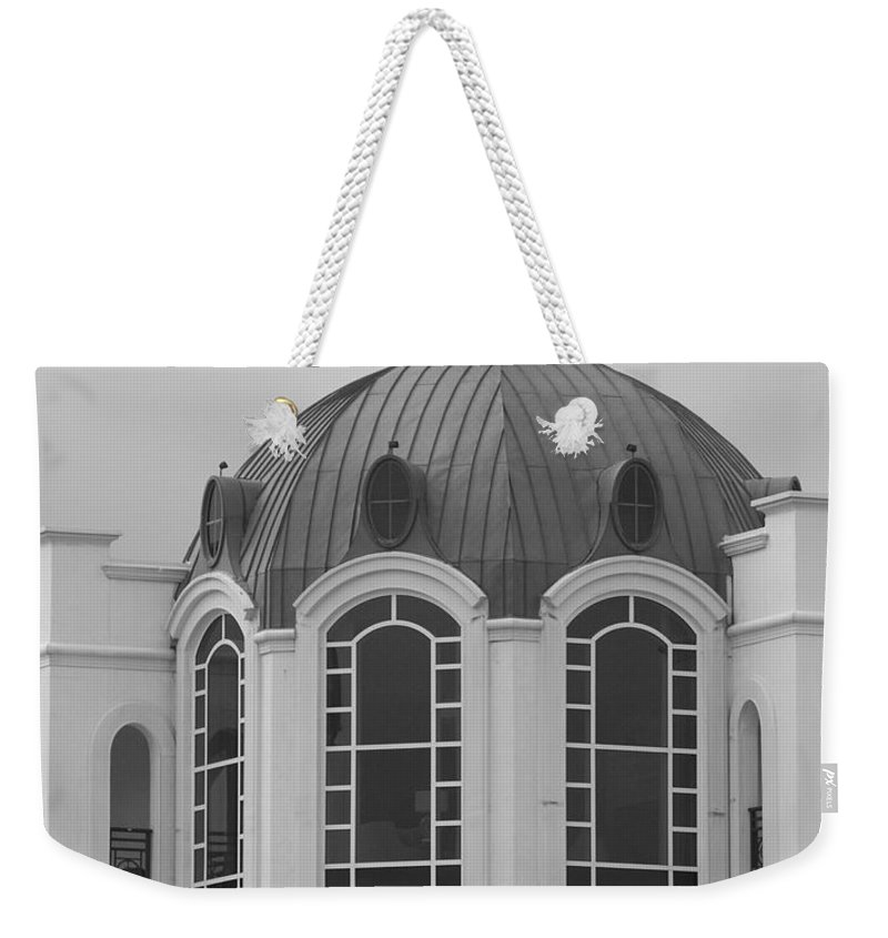 Black And White Weekender Tote Bag featuring the photograph The Glass And Brass Tower by Rob Hans