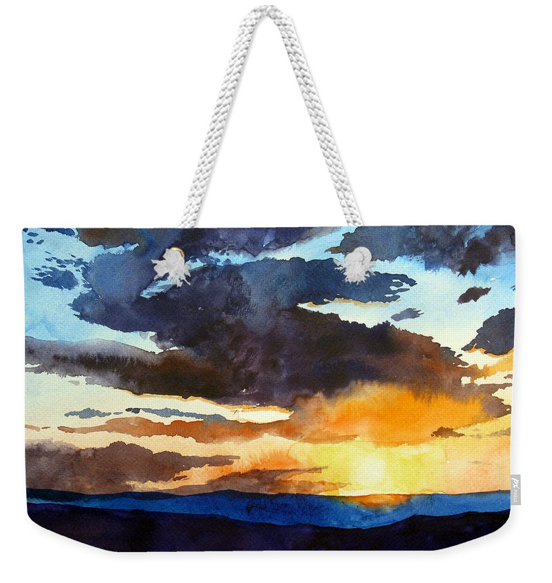 Sunset Weekender Tote Bag featuring the painting The Glory Of The Sunset by Christopher Shellhammer