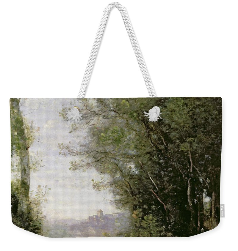 The Weekender Tote Bag featuring the painting The Goatherd Beside The Water by Jean Baptiste Camille Corot