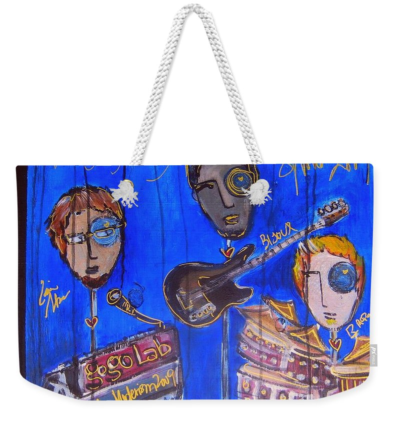 Gogolab Weekender Tote Bag featuring the painting The Gogolab Painted Live by Laurie Maves ART