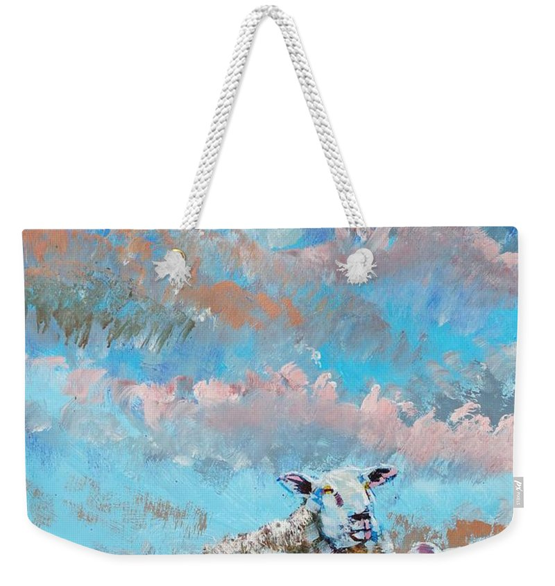 Sheep Weekender Tote Bag featuring the painting The Golden Flock - Colorful Sheep Art by Mike Jory