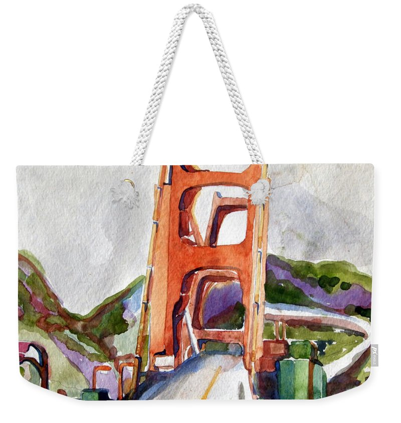 Mindy Newman Weekender Tote Bag featuring the painting The Golden Gate Bridge San Francisco by Mindy Newman