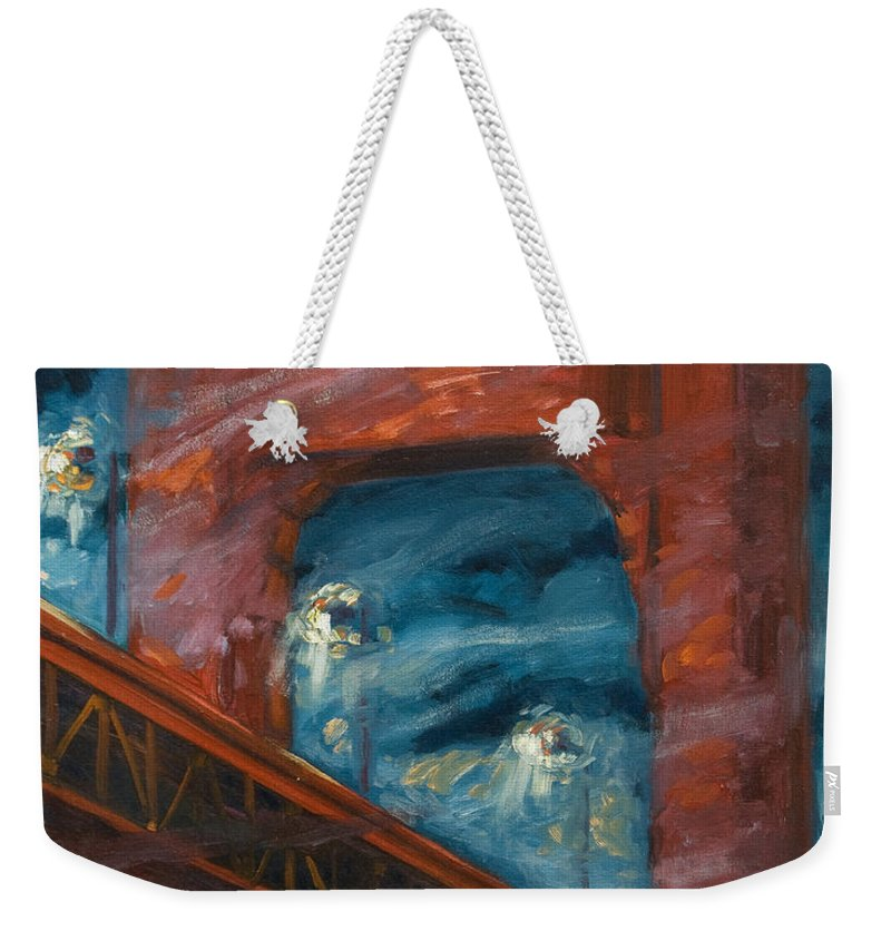 Bridge Weekender Tote Bag featuring the painting The Golden Gate by Rick Nederlof