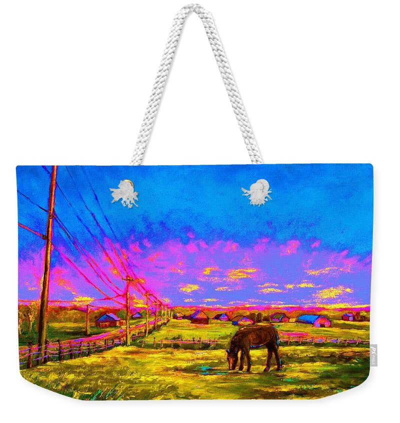 Western Art Weekender Tote Bag featuring the painting The Golden Meadow by Carole Spandau