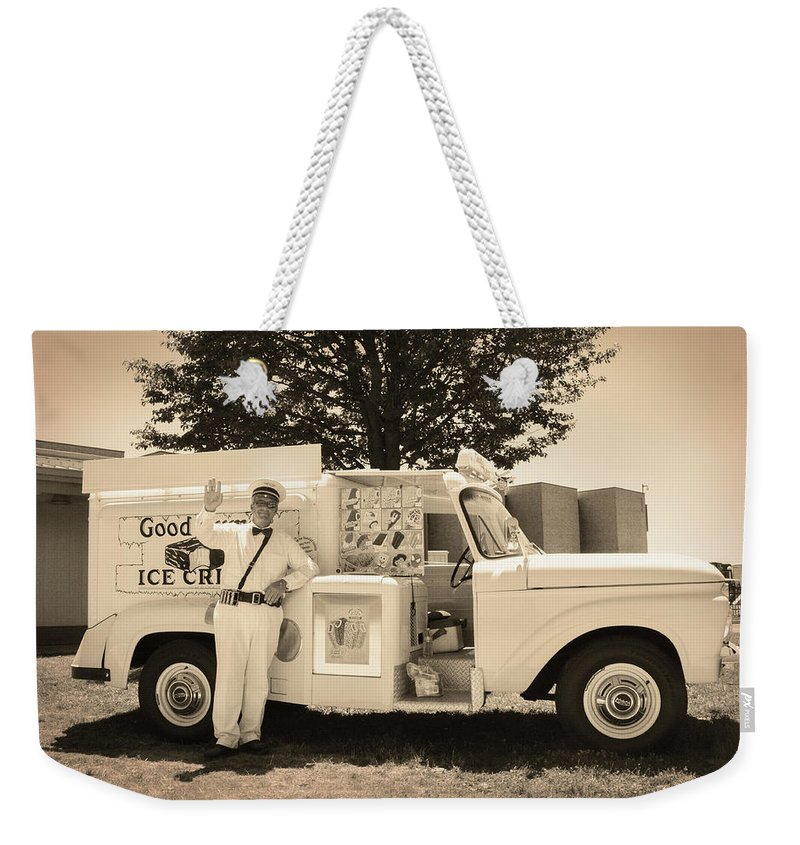 The Weekender Tote Bag featuring the photograph The Good Humor Man In Sepia by Bill Cannon
