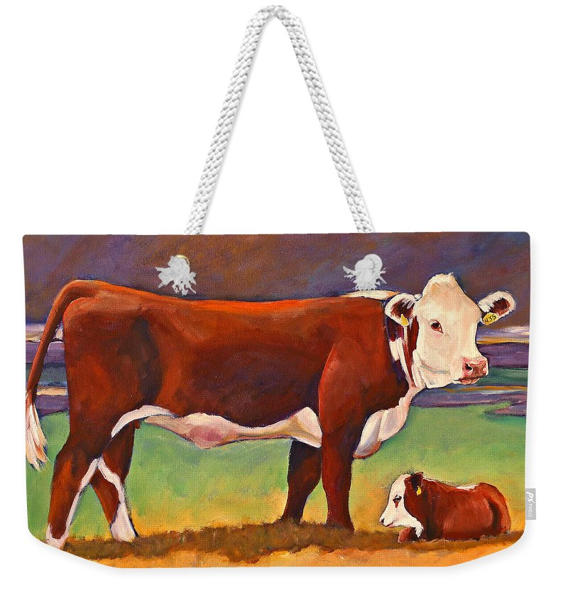 Folk Art Weekender Tote Bag featuring the painting The Good Mom Folk Art Hereford Cow And Calf by Toni Grote