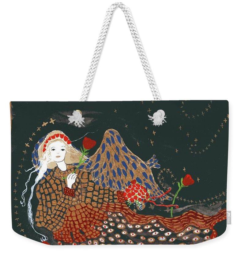The Good Night Angel Weekender Tote Bag featuring the mixed media The Good Night Angel by Patsy Stanley