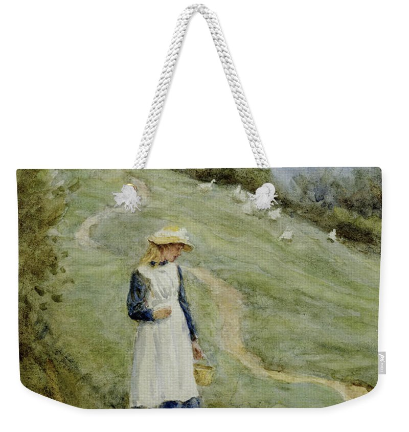 The Goose-girl Weekender Tote Bag featuring the painting The Goose-girl by Helen Allingham