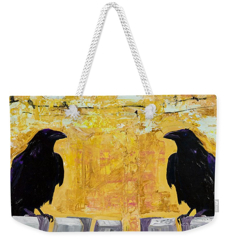 Abstract Realism Weekender Tote Bag featuring the painting The Gossips by Pat Saunders-White