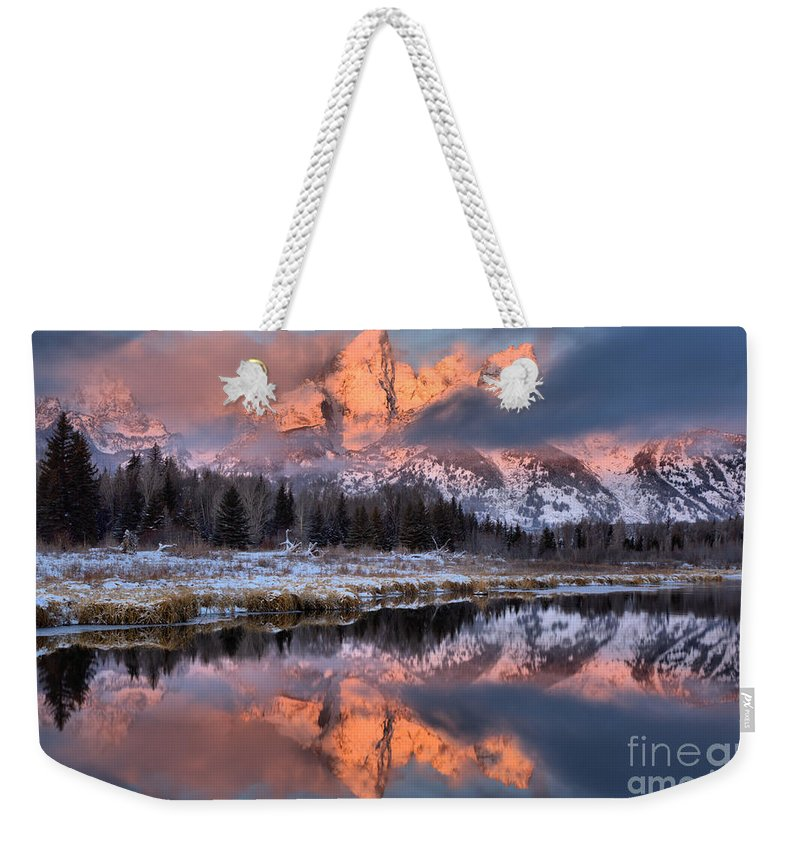 Teton Sunrise Weekender Tote Bag featuring the photograph The Grand Teton by Adam Jewell