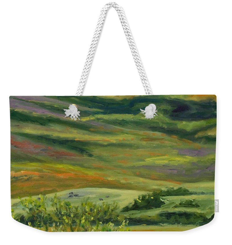 California Hills Weekender Tote Bag featuring the painting The Grapevine by Rick Nederlof