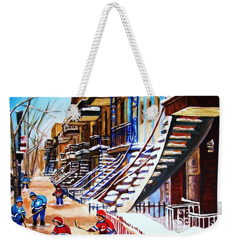 Hockey Weekender Tote Bag featuring the painting The Gray Staircase by Carole Spandau