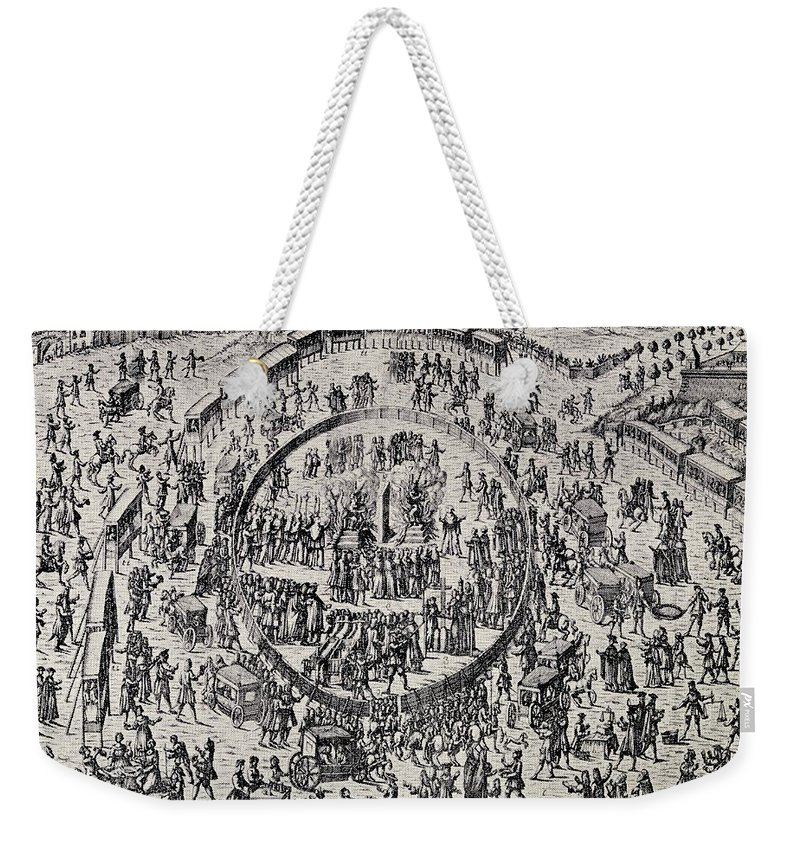 Auto De Fe Weekender Tote Bag featuring the drawing The Great Auto De Fe At Palermo Italy 6 by Vintage Design Pics