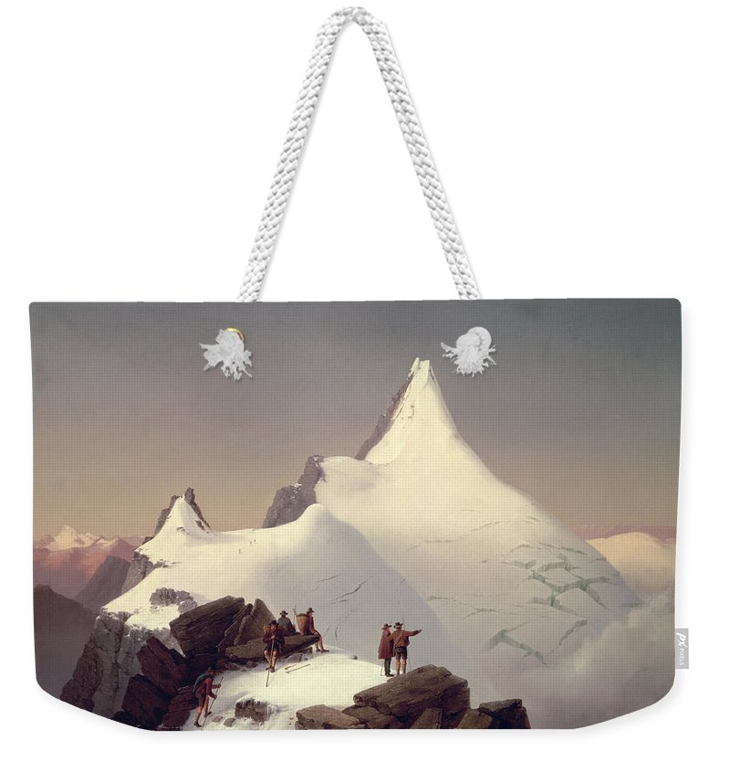 Landscape; Snow; Winter; Alpine; Peak; Climbers; Climber; Climbing; View; Mountaineer; Porter; Cloud; Avalanche; Austria Weekender Tote Bag featuring the painting The Great Bellringer by Marcus Pernhart