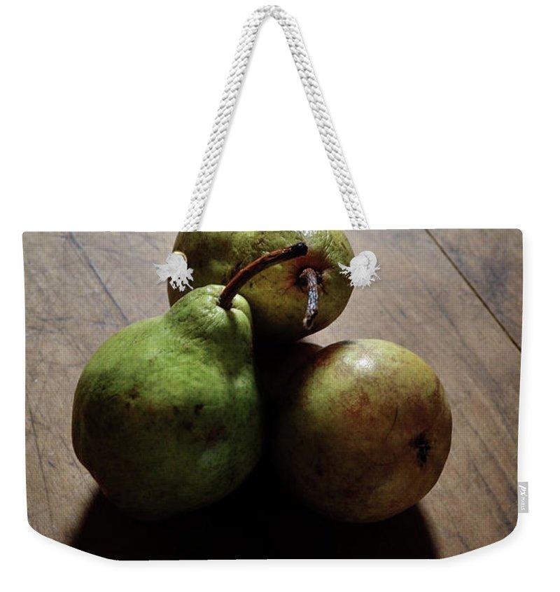 Pears- Still Life- Pear Heart Shadows- Hearts- The Great Escape Images Of Rae Ann M. Garrett - World Renowned - Famous Photographers - Weekender Tote Bag featuring the photograph The Great Escape by Rae Ann M Garrett