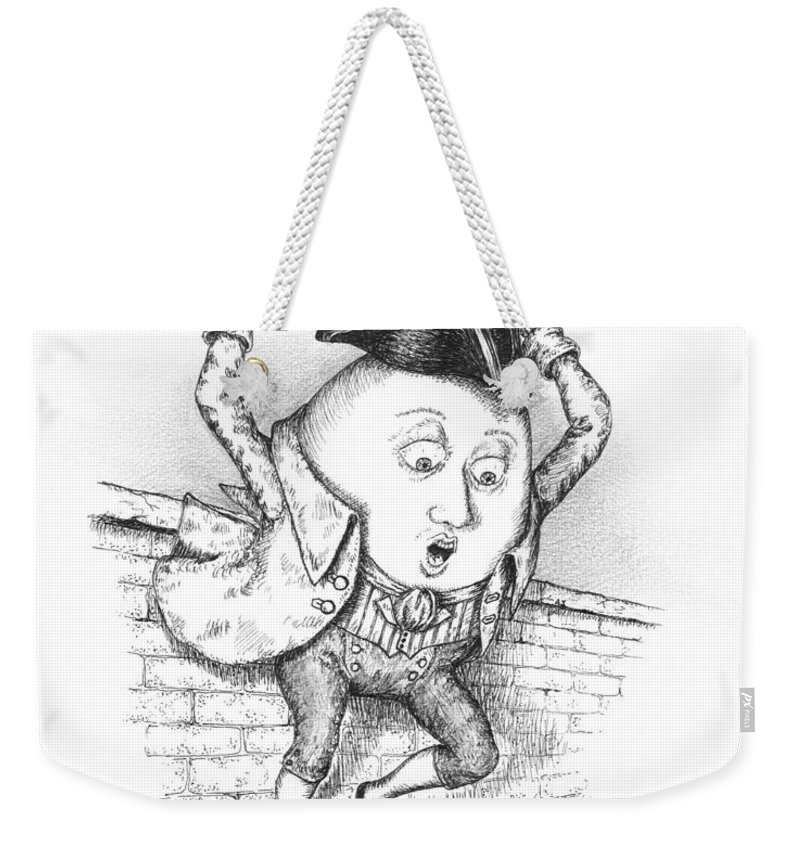 Black Weekender Tote Bag featuring the drawing The Great Fall by Adam Zebediah Joseph