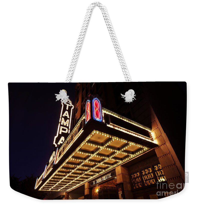 Tampa Theatre Weekender Tote Bag featuring the photograph The Great Movie Marquee by David Lee Thompson
