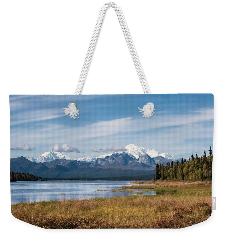 Swan Lake Weekender Tote Bag featuring the photograph The Great One by Ted Raynor