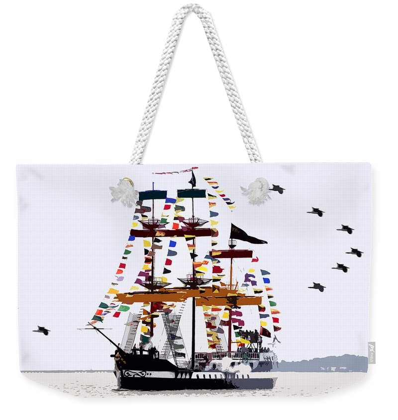 Gasparilla Weekender Tote Bag featuring the painting The Great Ship Gasparilla by David Lee Thompson