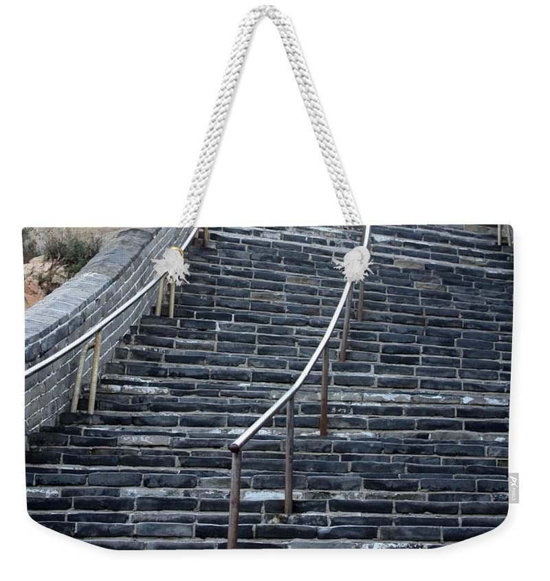 Steps Weekender Tote Bag featuring the photograph The Great Wall Steps by Carol Groenen