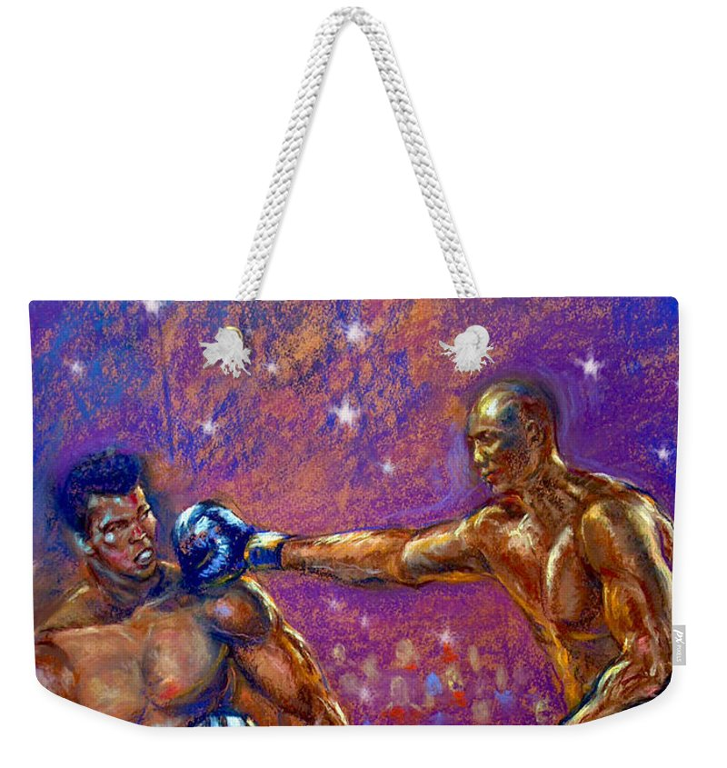Boxing Weekender Tote Bag featuring the pastel the Greatest Muhammed Ali vs Jack Johnson by Tommy Winn