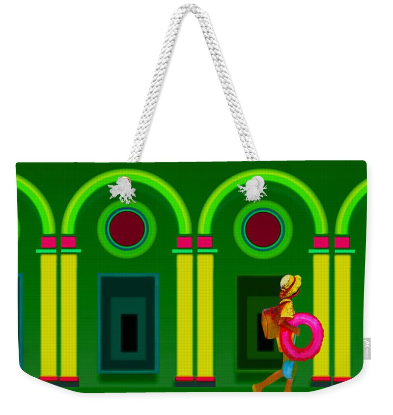 Classical Weekender Tote Bag featuring the digital art The Green Door by Charles Stuart