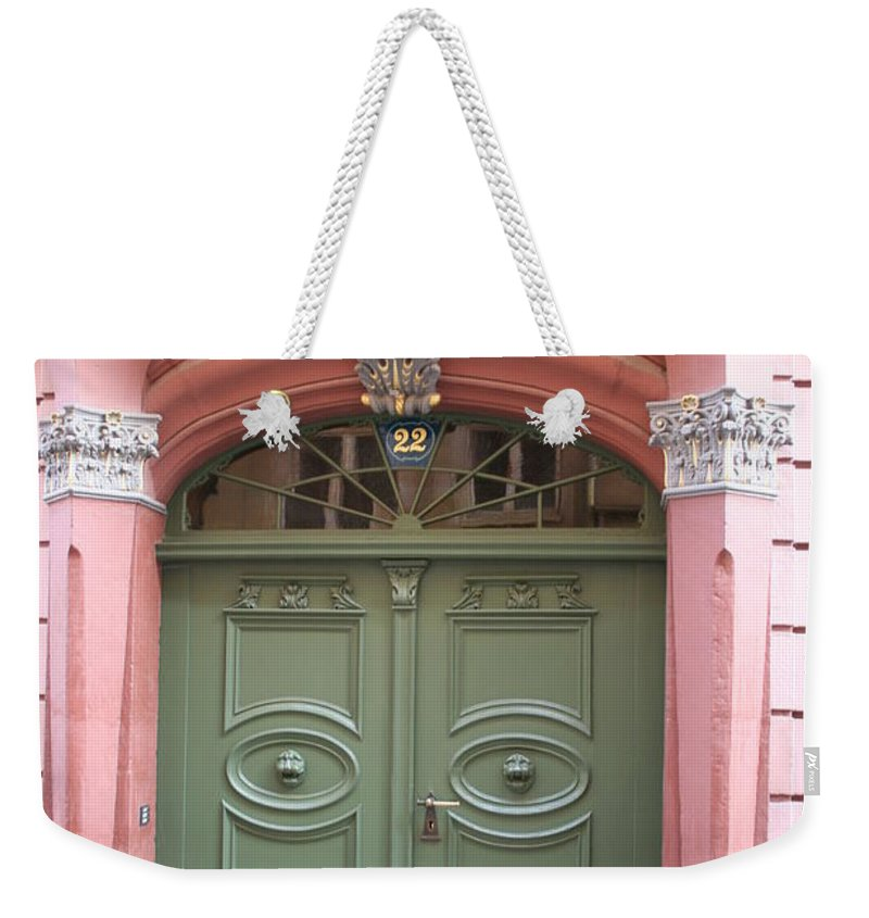 Door Weekender Tote Bag featuring the photograph The Green Door by Christiane Schulze Art And Photography