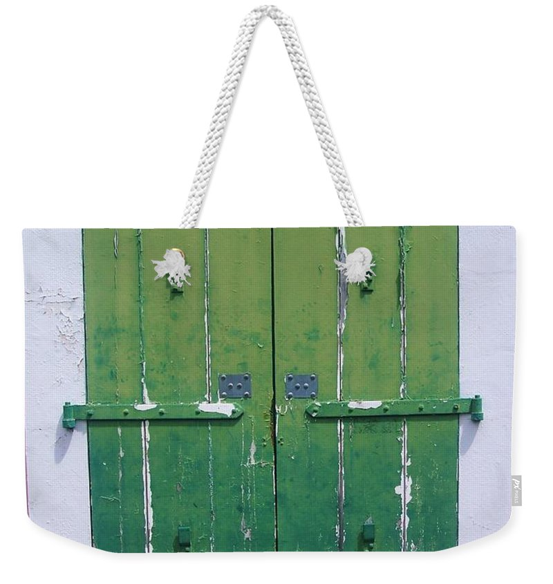 Architecture Weekender Tote Bag featuring the photograph The Green Door by Debbi Granruth