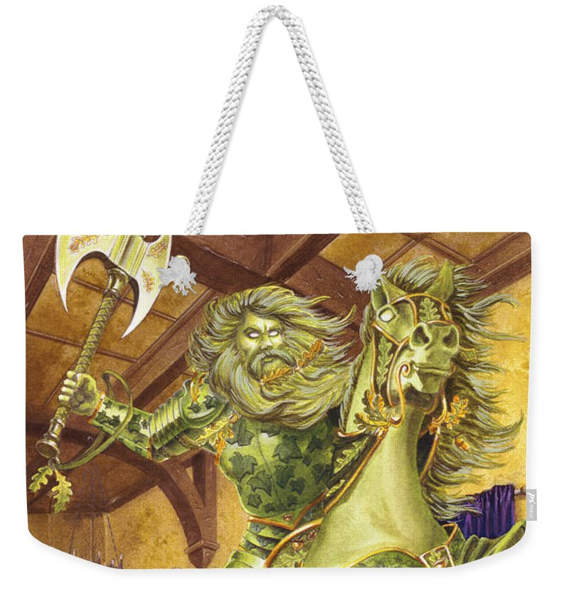 Fine Art Weekender Tote Bag featuring the painting The Green Knight by Melissa A Benson