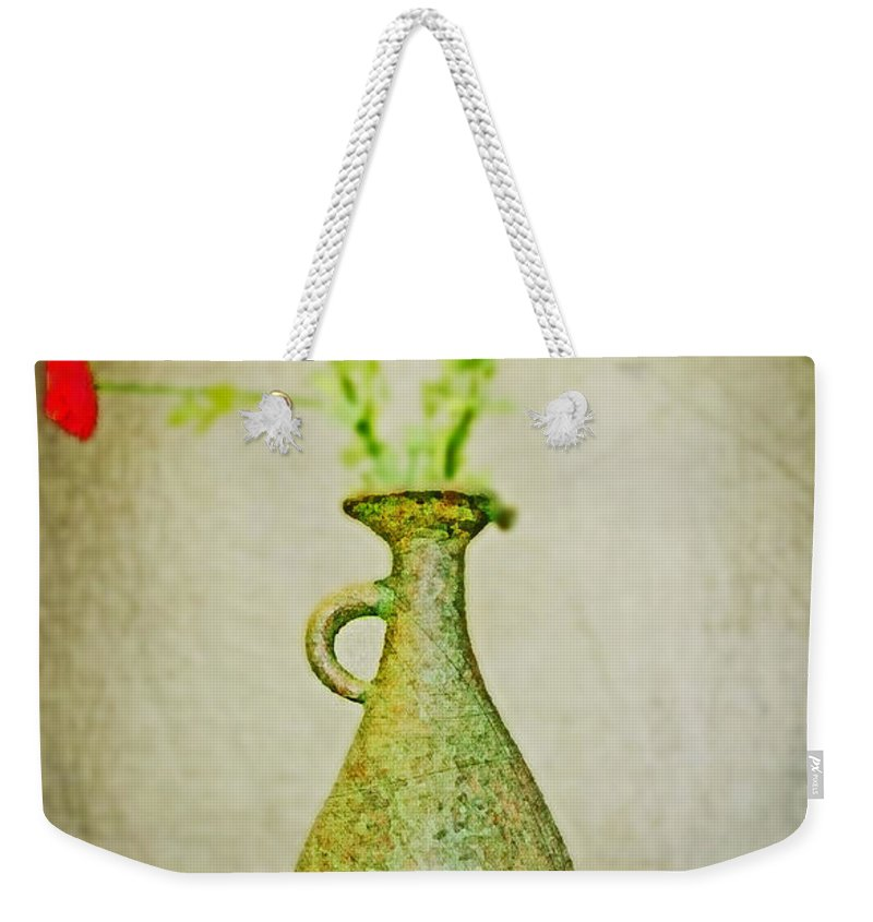 Vase Weekender Tote Bag featuring the digital art The Green Vase by Don Baker