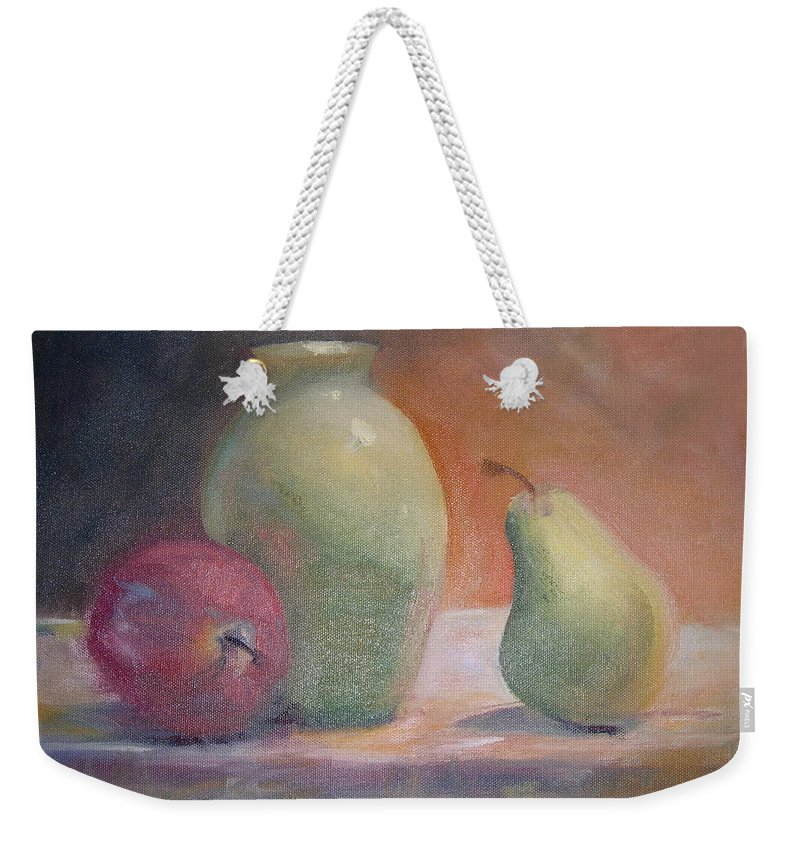 Green Weekender Tote Bag featuring the painting The Green Vase by Patricia Caldwell