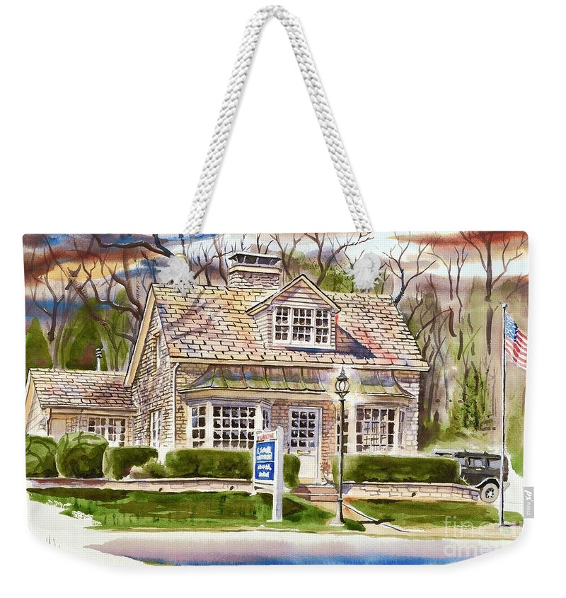 The Greystone Inn In Brigadoon Weekender Tote Bag featuring the painting The Greystone Inn In Brigadoon by Kip DeVore