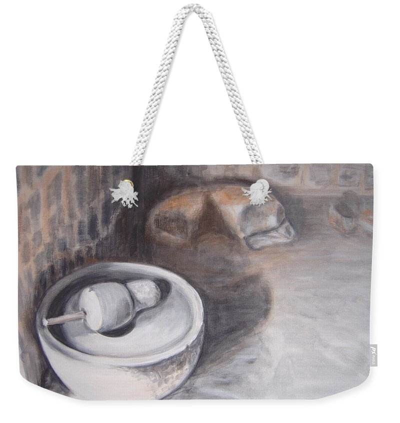 Grinding Weekender Tote Bag featuring the painting The Grinding Stone by Usha Shantharam