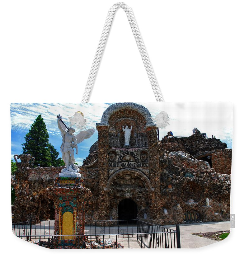 Entrance To The Grotto Of Redemption Weekender Tote Bag featuring the photograph The Grotto Of Redemption In Iowa by Susanne Van Hulst
