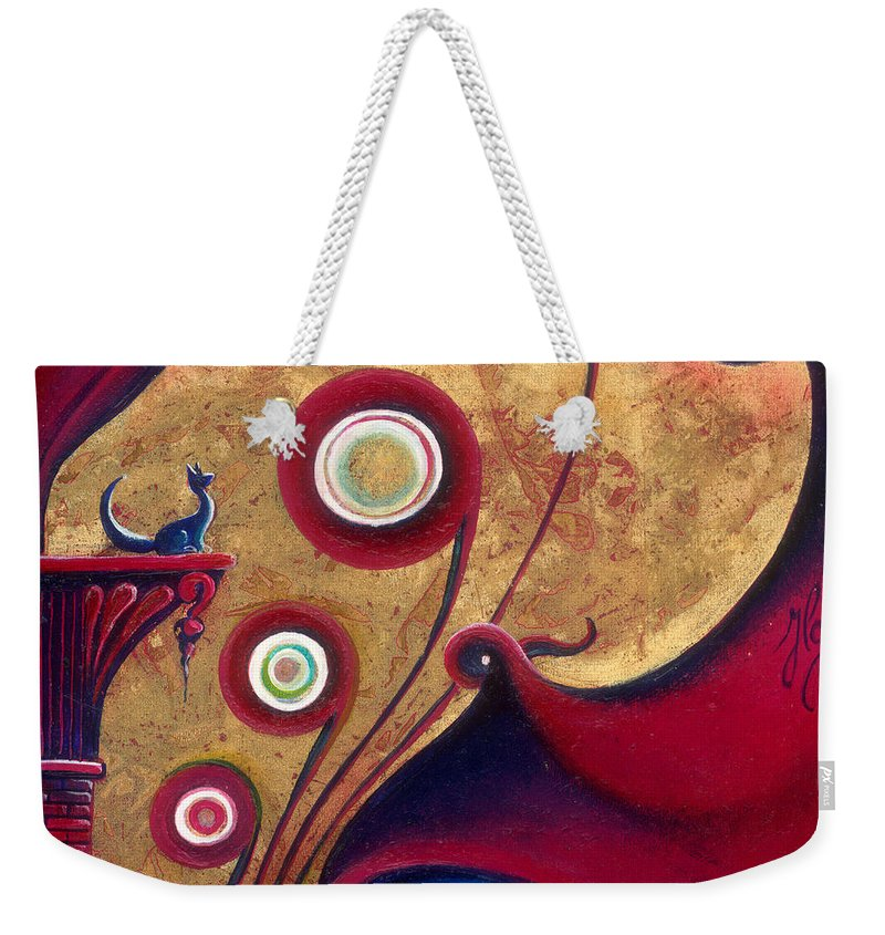 Blue Weekender Tote Bag featuring the painting The Guardian Of Changes The Destiny by Anna Ewa Miarczynska