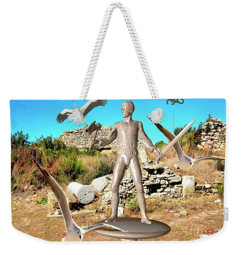 Modern Painting Weekender Tote Bag featuring the mixed media The Guardian Of The Ruins 1 by Pemaro