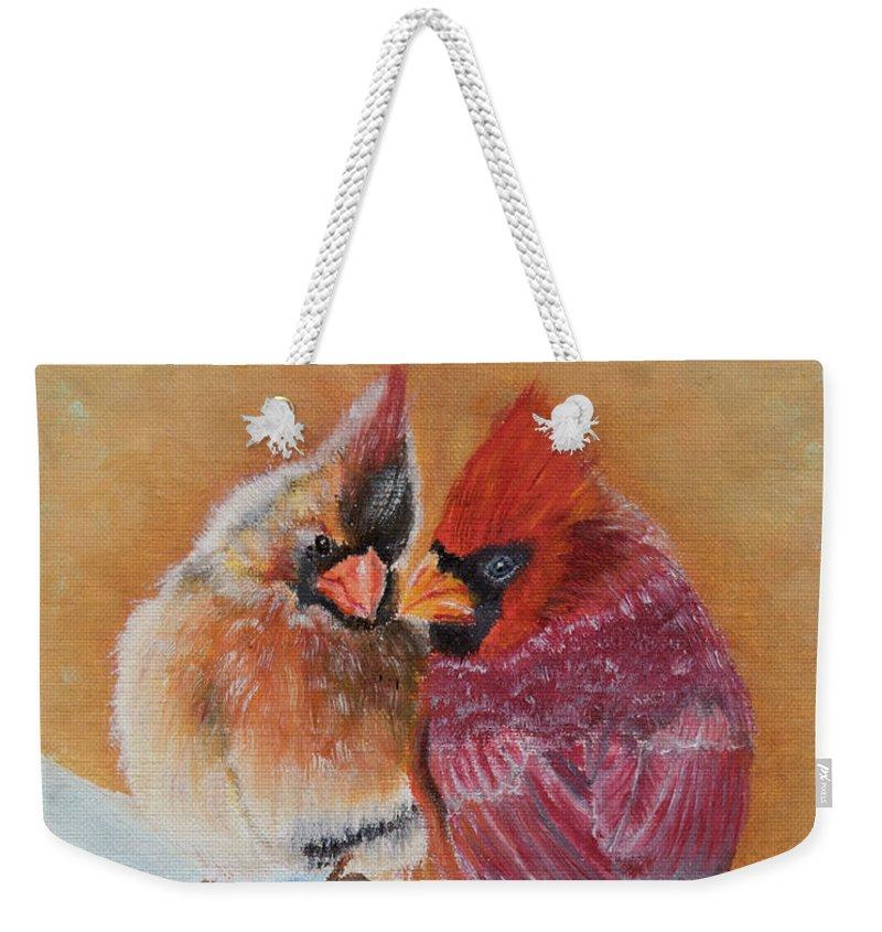 Spirit Weekender Tote Bag featuring the painting The Guardians by Belinda Nagy