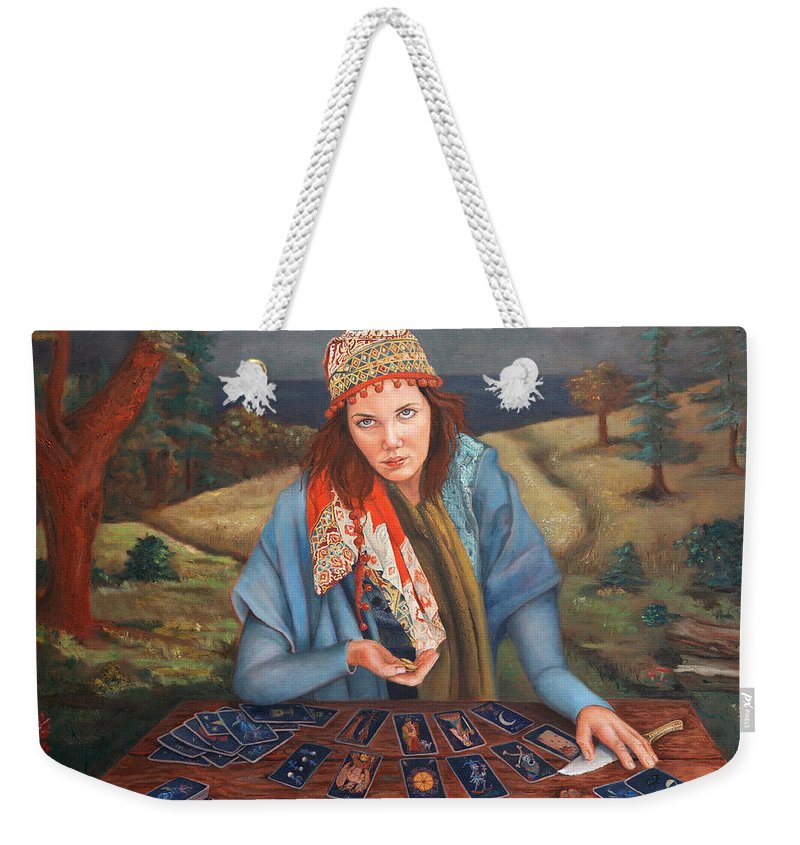 Figurative Art Weekender Tote Bag featuring the painting The Gypsy Fortune Teller by Portraits By NC